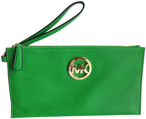 Michael Kors Fulton Genuine Leather Large Zip Top Clutch Palm Green