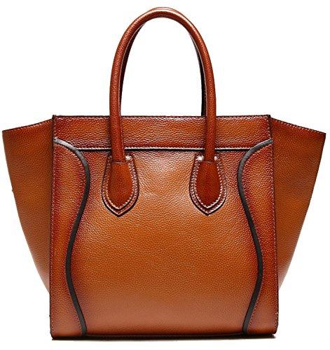 Heshe Cowhide Soft Leather Vintage Top-handle Tote Shoulder Messanger Classic Travelling Business Handbag Purse