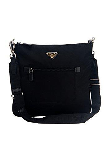 Prada Tessuto & Saffiano Unisex Large Black Messenger Cross-body Work Travel Bag