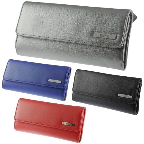 Kenneth Cole Reaction Womens Saffiano Clutch Wallet Trifold W Coin Purse