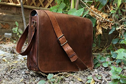 HLC Leather Full Flap Messenger Handmade Bag Laptop Bag Messenger Bag Satchel Bag
