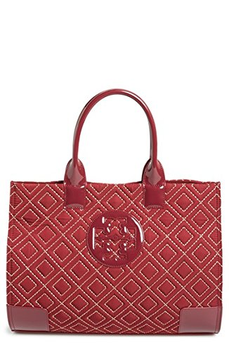 Tory Burch Ella Quilted Tote Cabernet/ Gold Handbag Bag New