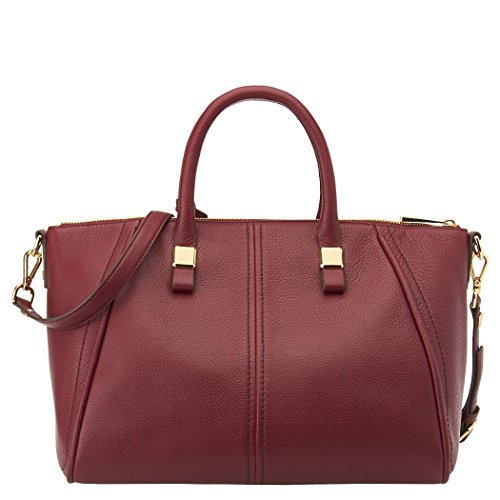 Nine West 9W City Chic Leather Collection Tribeca Dome Satchel Wine, One Size