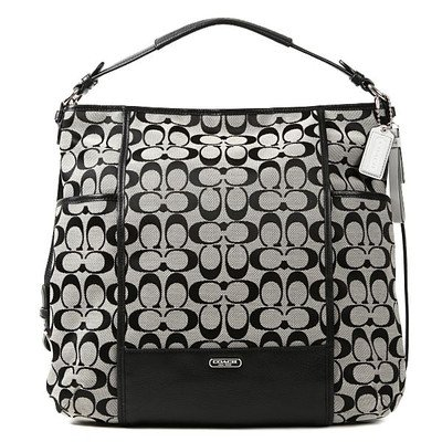 Coach Park Signature Black & White Hobo Shoulder Bag