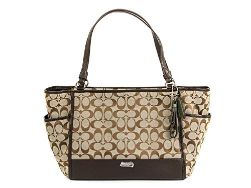 Coach Park Signature Carrie Tote in Khaki & Mahogany