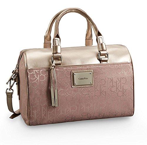 Calvin Klein Logo Jacquard Sleek Barrel Satchel Bag Handbag (Champagne)
