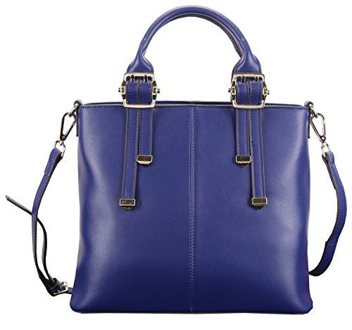 Heshe New Genuine Leather Office Lady Simple Style Fashion Top Handle Tote Shoulder Crossbody Bag Satchel Purse Women's Handbag