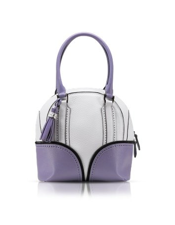 Pineider 1774 Limited Edition Mini Bowling Leather Bag white/lilac