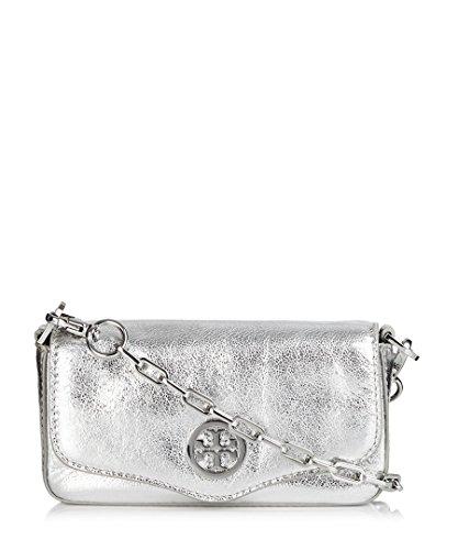 Tory Burch Classic Leather Mini Bag Convertible Clutch, Silver