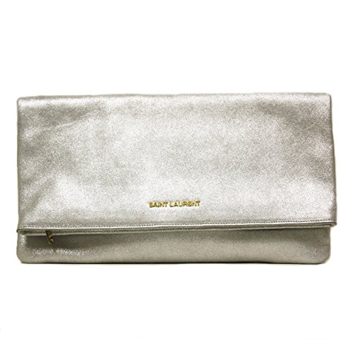 Saint Laurent 'Letters' Metallic Silver Calfskin Leather Fold-over Clutch