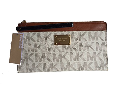 Michael Kors Jet Set Large Zip Top Clutch in Vanilla & Luggage