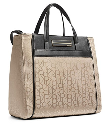Calvin Klein Womens Logo Jacquard Sport Center Zip Shopper Tote Ash