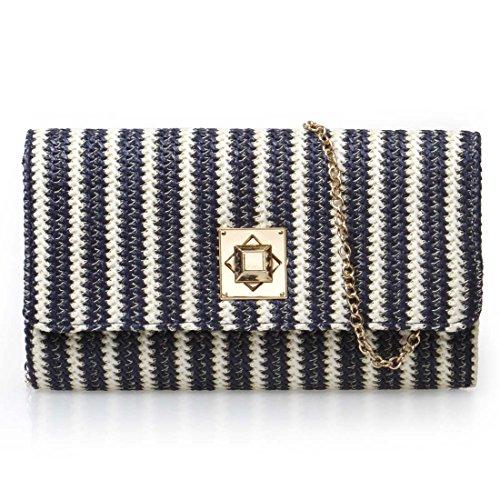 BMC Womens Soft Twine Knitted Stripe Pattern Envelope Flap Fashion Clutch