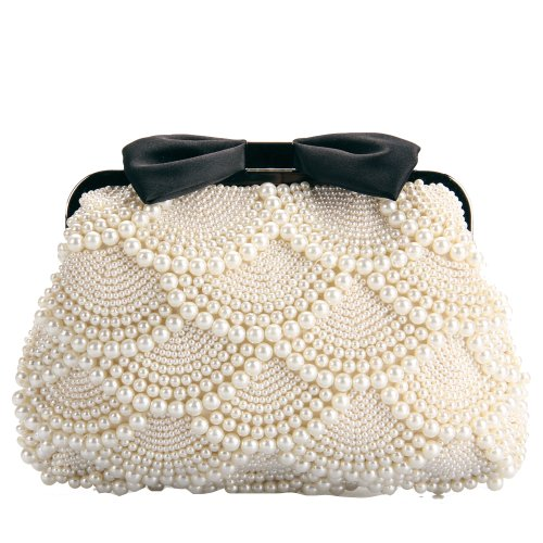Tinksky® Sweet Shiny Lady's Pearl Embroidery Shoulder Bag Luxury Beaded Bowknot Clutch
