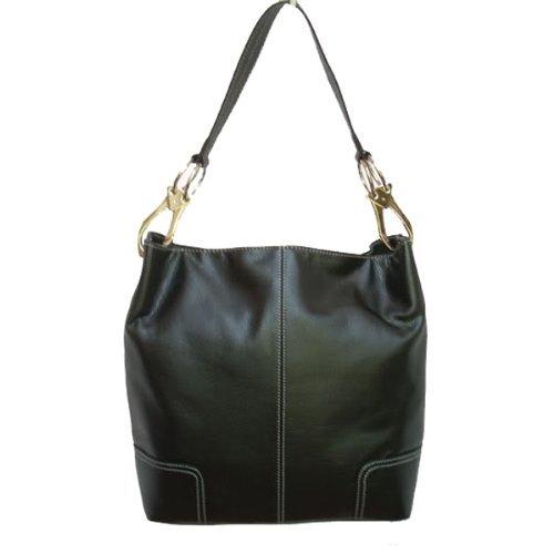 Classic Tall Large TOSCA Hobo Shoulder Handbag Silver Buckles Italy (Black)