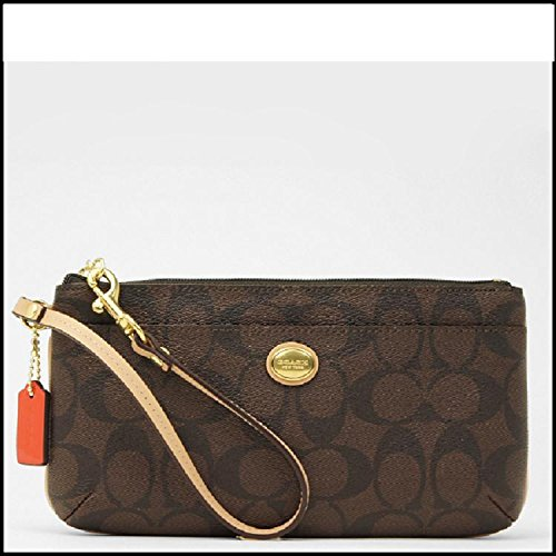 Coach Peyton Brown Tan Signature Go-Go Wallet Wristlet F51258 B4AQW