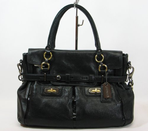 COACH Chelsea Flagship Limited Edition East / West Flap Satchel in Brass / Gunmetal / Black 17785
