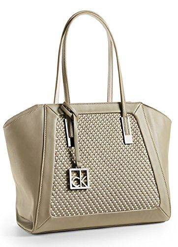 Calvin Klein Nicole City Wing Shopper Tote Shoulder Bag Handbag Satchel (Ice Grey)