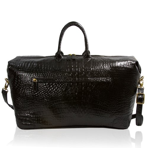 Terrida Italian Designer Gentleman Black Alligator Leather Travel Duffle Bag