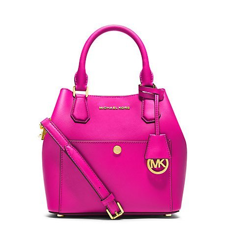 Michael Kors Greenwich Medium Saffiano Leather Satchel Raspberry/mandarin