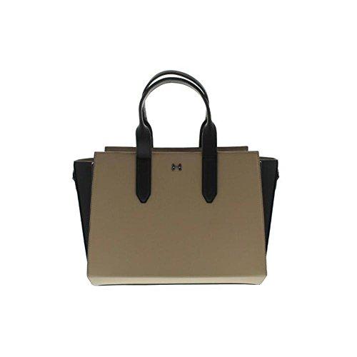 Halston Heritage Womens Leather Colorblock Satchel Handbag