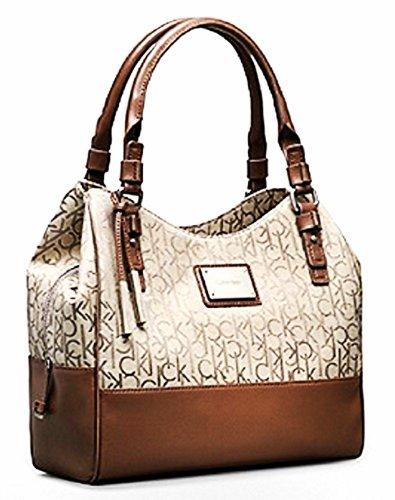 Calvin Klein Logo Jacquard Center Zip Hobo Handbag Satchel Purse Tote (Natural)
