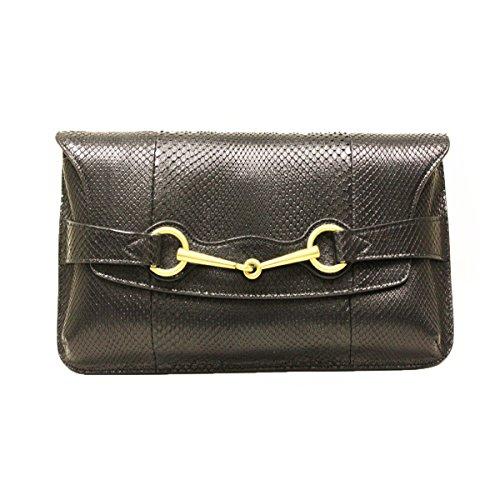 Gucci Horsebit Black Python Large Clutch Bag 317638