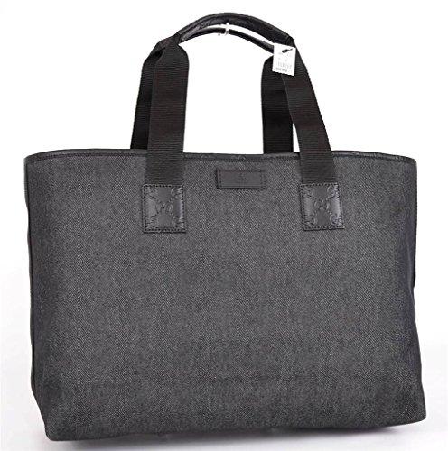 Gucci XL Black Denim/Leather GG Guccissima Tote Shopper 289626