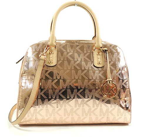Michael Kors Large Signature Satchel Mirror Metallic Rose Gold