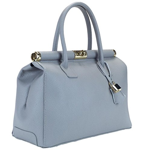 HS 1205 GG MINERVA Made in Italy Grey Structured Top Handle Satchel/Shoulder Bag