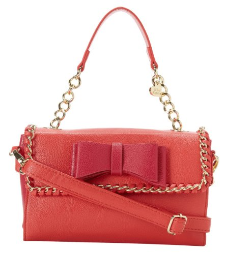 Betsey Johnson Tough Love Mini Satchel Bag, Pink/Red
