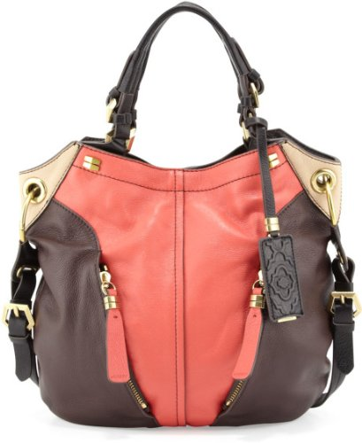 Oryany Clay Multi Pebble Leather Victoria Colorblock Large Hobo Shoulder Bag