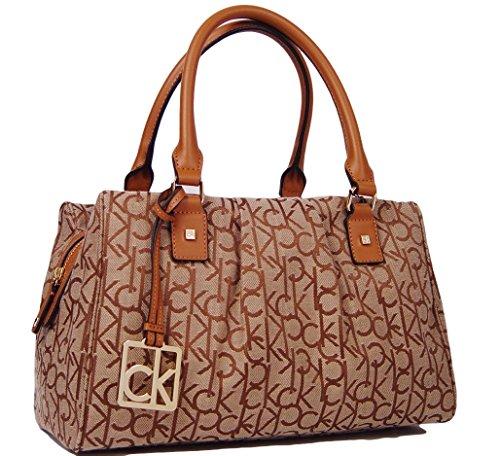 Calvin Klein Logo Jacquard Satchel Handbag (khaki / Brown / Caramel)