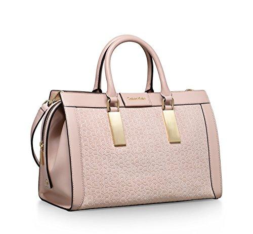 Calvin Klein Brynn Suede Faux Leather Duffle Satchel Bag Sandstone