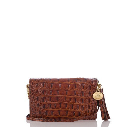 Brahmin Amelia Melbourne Toasted Almond Genuine Leather Crossbody