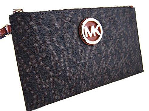 Michael Kors MK Signature Fulton Large PVC Top Zip Clutch / Wristlet – Mocha Brown