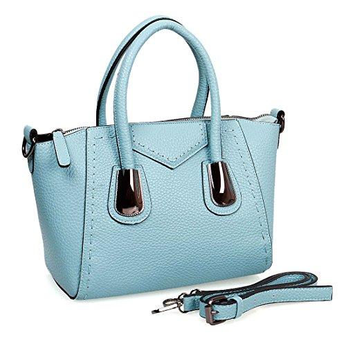 BMC Womens Textured PU Faux Leather Top Handle Satchel Style Shoulder Handbag