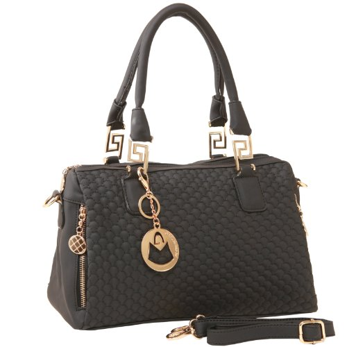 MG Collection Chic Quilted Black Fashion Office Tote Top-Handle Handbag