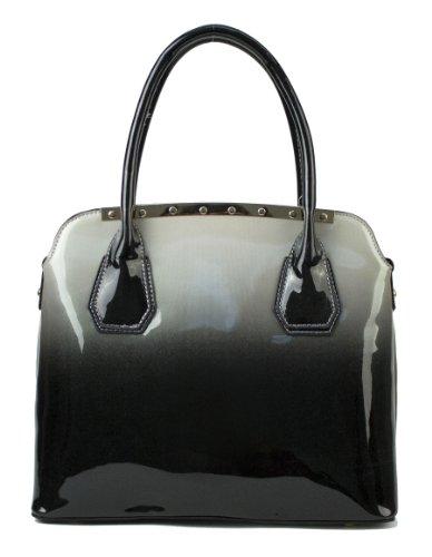 Scarleton Two Tone Patent Satchel Bag H1188