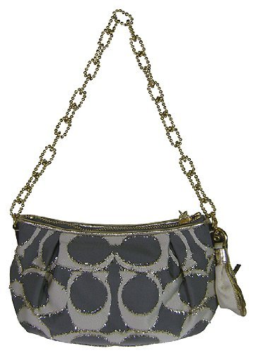 Coach Poppy Signature C Clipped Lurex Small Handbag Demi Bag ~ Asphalt Style 15896