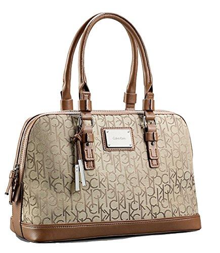 Calvin Klein Logo Jacquard Print Dome Satchel Handbag (Natural)