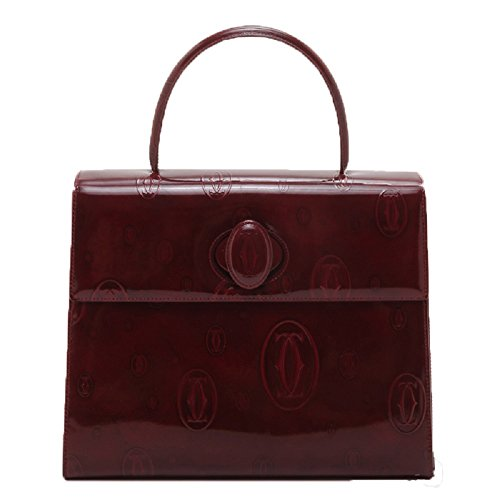 CARTIER® CLASSIC DOUBLE C LOGO Handbag HAPPY BIRTHDAY Handbag. BURGUNDY. LARGE. Made in FRANCE