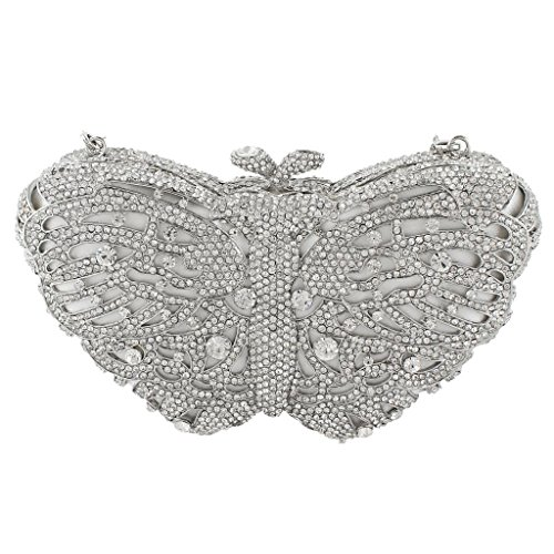 Yahoho Women's Bridal Butterfly Evening Bag Party Handbag Clear Austrian Crystal