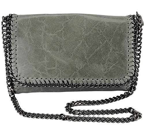 Italian Grey Clutch Genuine Leather W/removable Shoulder Strap Designed & Hand Made in Italy