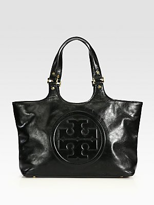 Tory Burch Bombe Burch Black Leather Tote