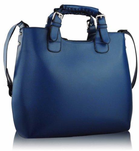 Womens Navy Blue Large Tote Shoulder Bag Ladies Faux Leather Designer Handbag KCMODE