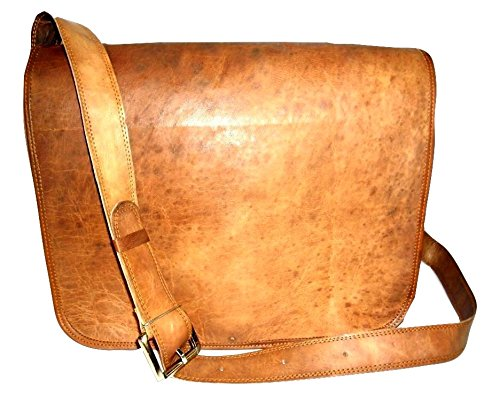 New Handmade Rustic 15″ Goat Leather Flap Satchel Laptop Bag Messenger Bag