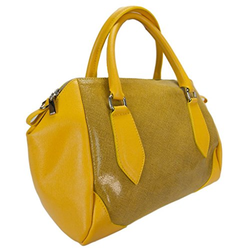 H&S Collection 5198-56 GL SASHA Made in Italy Yellow Structured Leather Sacthel/ Shoulder Bag