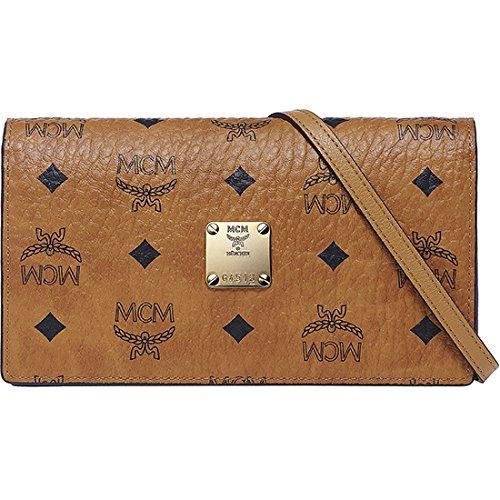 2014 AW Authentic MCM COLOR VISETOS Cross Body Wallet Clutch Bag Cognac Color MYL4AVC46CO
