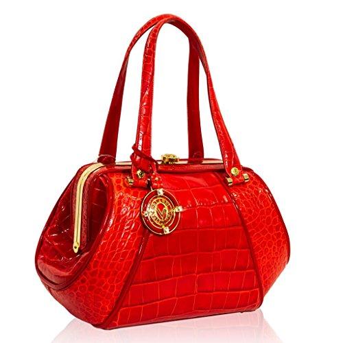 Valentino Orlandi Italian Designer Red Croc Leather Jeweled Large Doctor Bag